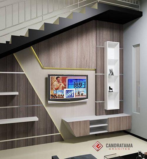 interior backdrop tv tangga